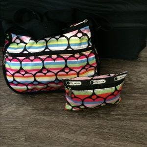 LeSportsac Rainbow Hearts Messenger Crossbody $69